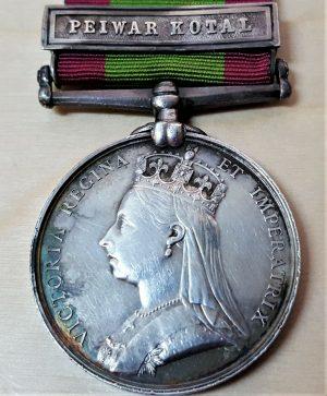 PRE WW1 BRITISH ARMY AFGHANISTAN MEDAL 1878 CLASP PEIWAR KOTAL PTE FOX 8th REGT