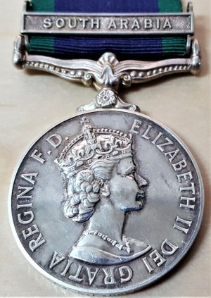 RARE PILOT OFFICER ROYAL AIR FORCE GENERAL SERVICE MEDAL CLASP SOUTH ARABIA ROWE