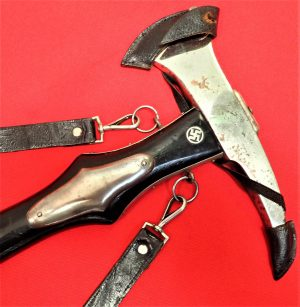 RARE WW2 NAZI GERMANY FIREMAN'S PARADE AXE WITH HANGERS & COVER