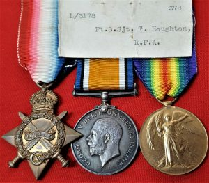 WW1 BRITISH ARMY MEDALS TO L 3178 SGT HOUGHTON R.F.A. WOUNDED IN ACTION 1918