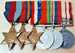 WW2 BURMA, FRANCE & GERMANY, PALESTINE ROYAL NAVY MEDAL GROUP SIGNALLER BRADFORD