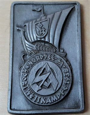 1938 GERMAN S.A. GRUPPE NORDSEE SPORTS BADGE TINNIE BY RICHARD SIPER & SOHNE