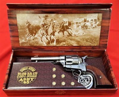 Kosler Colt .45 Western frontier revolver antique brown grips & nickel metal finish