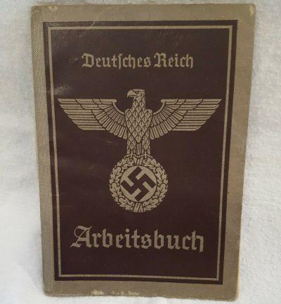 VINTAGE WW2 GERMAN CITIZENS WORK BOOK ARBEITSBUCH GUNTHER KREHL
