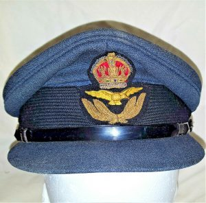 1940'S WW2 ROYAL AIR FORCE OFFICER'S UNIFORM PEAKED SERVICE CAP HONG KONG MADE