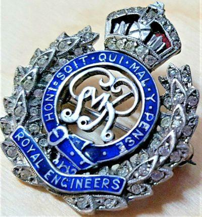 WW1 ERA BRITISH ARMY ROYAL ENGINEERS SWEET HEART BADGE WITH DIAMONDS