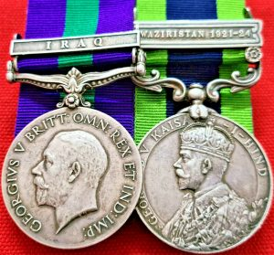 BRITISH ARMY IRAQ & WAZIRISTAN 1921-24 MEDALS TO LT COLONEL DICKINSON MADRAS PIONEERS