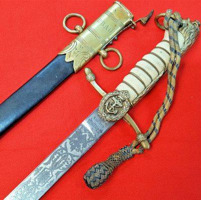 RARE WW1 AUSTRALIAN OR BRITISH NAVY MIDSHIPMAN'S DIRK SWORD & SCABBARD RARE