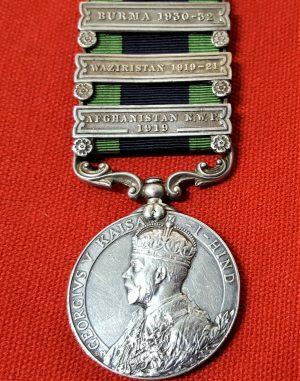 92ND PUNJABIS 1908 BRITISH INDIA ARMY GENERAL SERVICE MEDAL 3 BAR WW1 WW2 BURMA 1930-32, WAZIRISTAN 1919-21 & AFGHANISTAN N.W.F. 1919