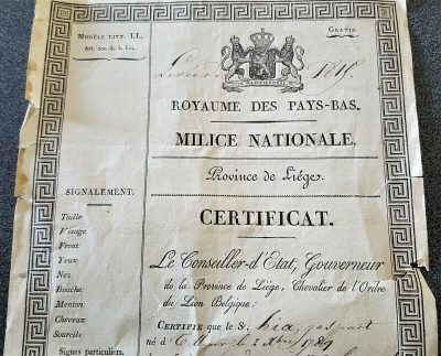 100% GENUINE KINGDOM BELGIUM LIEGE PROVINCE MILITARY CALL UP PAPERWORK 1822