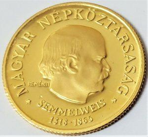 1968 HUNGARY 50 FORINT PROOF GOLD 4.21G COIN 150TH BIRTHDAY IGNACZ SEMMELWEIS