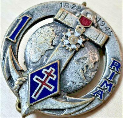 POST WW2 FRENCH 1st REGIMENT MARINE INFANTRY UNIFORM BADGE BY DRAGO PARIS