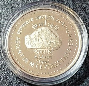 RARE GOLD & SILVER CASED COIN 30TH ANN. ASCENT MT. EVEREST NEPAL ASARPHI PROOF