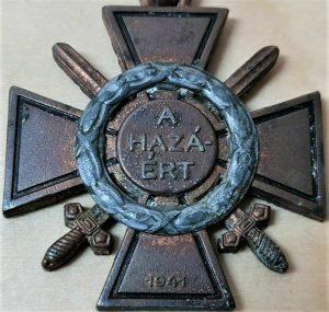 RARE WW2 KINGDOM OF HUNGARY FIRE CROSS WITH SWORD & WREATH 1941 MEDAL
