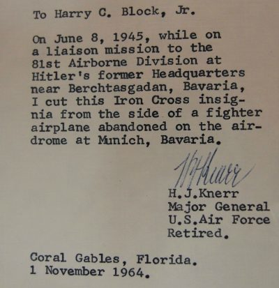 VINTAGE WW2 US ARMY AIR FORCE GENERAL KNERR SIGNATURES NAZI PLANE FABRIC RARE 3