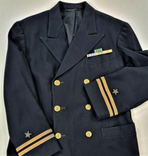 VINTAGE WW2 US NAVY OFFICER'S UNIFORM JACKET WITH PATCHES & BADGES USN LIMACHER