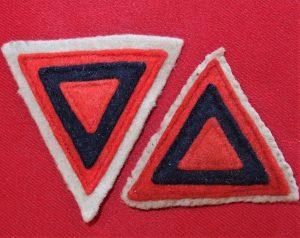 WW2 AUSTRALIAN ARMY UNIFORM COLOUR PATCHES 3rd ORDNACE CORPS A.A.O.C.