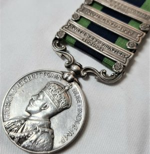 3 CLASP INDIA GENERAL SERVICE MEDAL NORTH WEST FRONTIER MOHMAND 1933