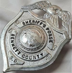 WW2 OBSOLETE US BENNETT COUNTY SHERIFF'S POSSE POLICE FORCE UNIFORM BADGE