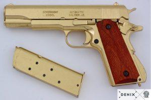 REPLICA M1911 US COLT HAND GUN PISTOL DENIX – GOLD STRIP DOWN TYPE WOODEN GRIPS