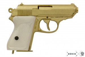 DENIX REPLICA GUN WALTHER PPK JAMES BOND STYLE PISTOL GOLD