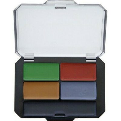 Five face paint colors (Brown, black, red, gray, green). Black plastic case.