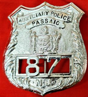 VINTAGE 1920's US NEW JERSEY PASSAIC AUXILIARY POLICE FORCE UNIFORM BADGE