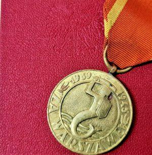 WW2 POLAND WARSAW MILITARY UPRISING & RESISTANCE BRAVERY MEDAL & CASE