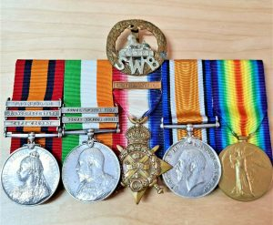 BOER WAR & WOUNDED WW1 MEDALS BADGE CALDICOTT SOUTH WALES BORDERERS