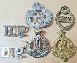 WW2 ERA BRITISH INDIA POLICE & LATER CAP & UNIFORM BADGES