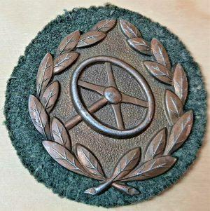 WW2 GERMAN ARMY DRIVER QUALIFICATION UNIFORM BADGE BRONZE