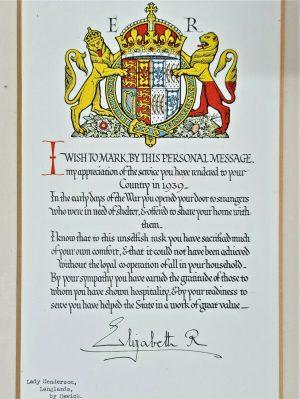 WW2 QUEEN'S CERTIFICATE APPRECIATION LADY HENDERSON OF LANGLANDS HAWICK SCOTLAND